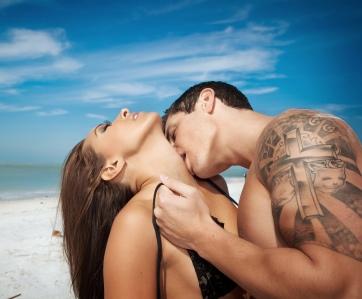 Couple on Beach kissing