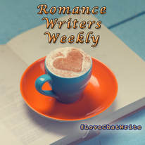 Romance Writers Weekly with coffe cup underneath and a mocha foam heart in cup